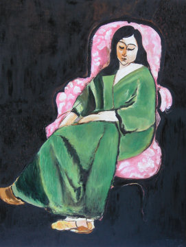 Henry Matisse - Laurette in a green dress on black background