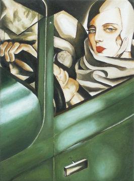 Self portrait in the green bugatti tamara de lempicka